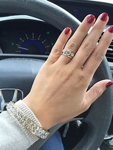 three stone engagement rings what wedding band did you
