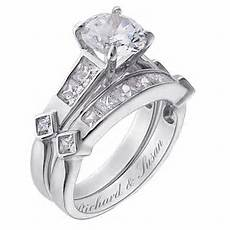 sterling silver 2 piece cz engraved wedding ring
