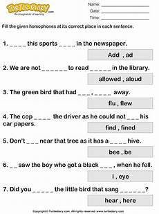 writing sentences with homophones worksheets 22183 fill in the blanks with homophones to complete the sentence worksheet turtle diary