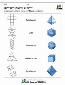 nets for 3d shapes worksheet geometry nets information page