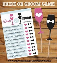 or groom printable game with matching props bridal