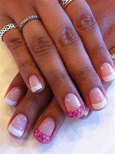 Pink Rhinestone Tips As A Feature Nail On A Classic