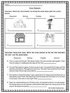 basic story elements worksheet or assessment character setting problem solution