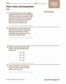place value and exponents worksheets 5597 place value and exponents problem solving worksheet for 6th 7th grade lesson planet