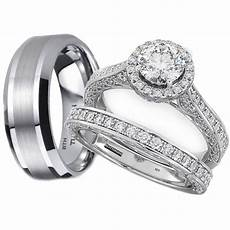 his and hers tungsten 925 sterling silver wedding engagement ring