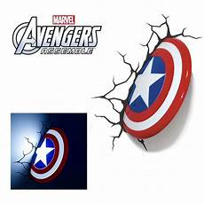 3d marvel captain america shield wall light for kids bedroom decor
