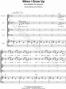 quot when i grow up quot from matilda the musical satb choir piano choral sheet music in f major