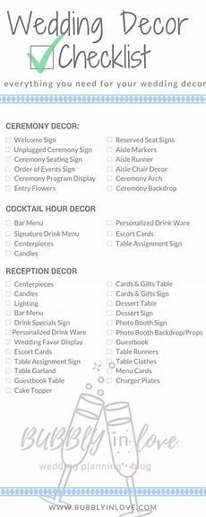 wedding decor checklist everything you need to plan your wedding decor in 2019 wedding