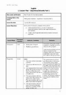 lesson plan for teaching adjectives in english lesson plans worksheets