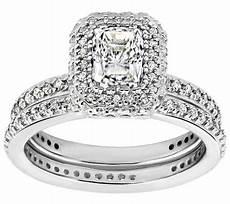diamonique 2 15 cttw 2 pc bridal ring platinum clad j310818 qvc com