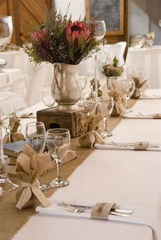 shabby chic vintage wedding reception burlap hessian