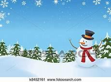 clipart inverno clipart schneemann in winterlandschaft k8452161