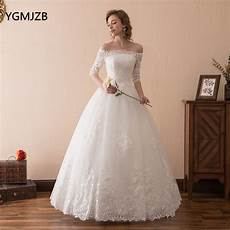 vestido de noiva 2018 princess wedding dress ball gown off shoulder half sleeves white ivory