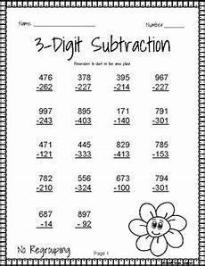 math worksheet 3 digit subtraction with regrouping 3 digit subtraction without regrouping by sweet