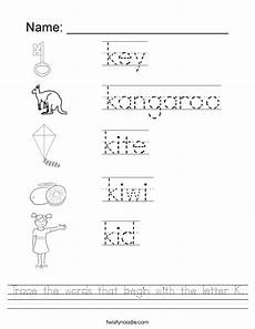 worksheets for the letter k 24418 trace the words that begin with the letter k worksheet twisty noodle