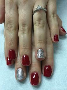simple christmas red silver sparkle gel polish nails