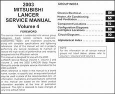 service manuals schematics 2003 mitsubishi lancer free book repair manuals 2003 mitsubishi lancer repair shop manual original 4 vol set