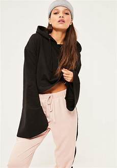 cropped sleeve lyst missguided black cropped flared sleeve hoodie in black