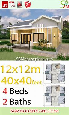 12x12 house plans house plans 12x12 meter 4 bedrooms gable roof 40x40 feet