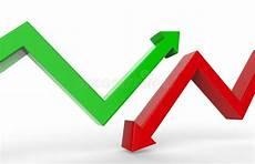 Grüner Pfeil An El - roter pfeil des wachstums 3d stock abbildung