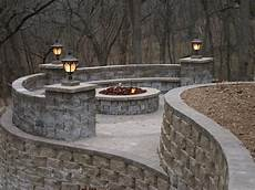 outdoor living with seat wall firepit retaining walls and oregonuforeview