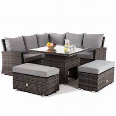 Maze Rattan Richmond Grey Corner Bench Set With Rising