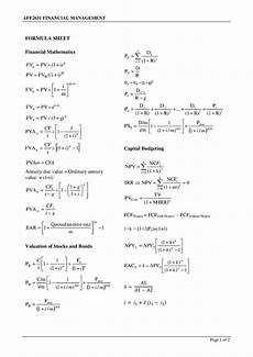 formula sheet containing all the formulas necessary to complete the course studocu