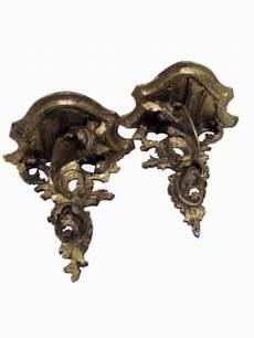 mensole antiche coppia di mensole dorate in legno inatgliato in buono stato