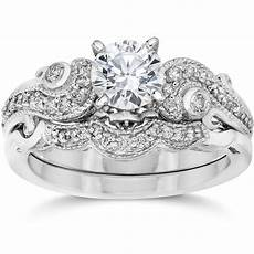 emery 3 4ct vintage diamond filigree engagement wedding ring set 14k white gold ebay