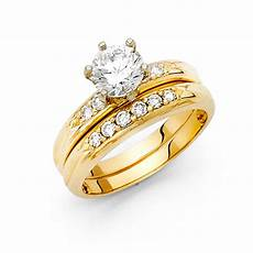 14k yellow italian solid gold 1 20ctw cz bridal