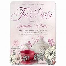 Vintage Tea Wedding Invitations vintage floral tea invitation sparkly pink bridal