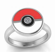 pokemon engagement ring pokeball ring with diamond center stone jewelry by johan