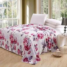 pink roses oversized printed luxurious super soft plush flannel blanket silky throw in queen