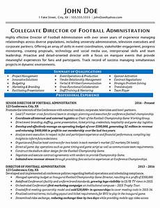 athletic director resume exle football sports management