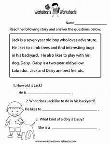 free printable reading comprehension worksheets 1st grade firstgrade worksheet