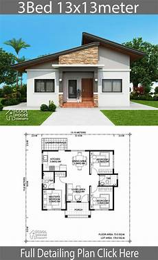three bedroomed bungalow house plans home design plan 13x13m with 3 bedrooms modern bungalow