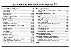 car service manuals pdf 1998 oldsmobile aurora seat position control pontiac solstice 2009 owner s manual pdf online download