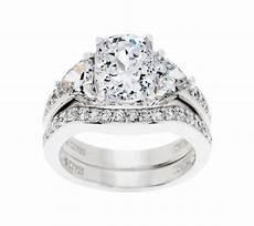 diamonique 2 95 cttw 100 facet bridal ring platinum clad page 1 qvc com