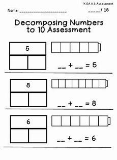 decomposing numbers worksheets for kindergarten decomposing numbers kindergarten assessment by stephanie posada teachers pay teachers