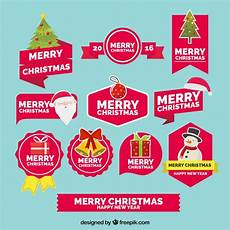free vector collection of merry christmas and new year stickers