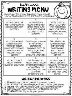 free halloween writing menu with graphic organizers and paper halloween holiday writing