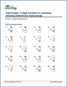 addition worksheets k5 8932 add a 2 digit number and a 1 digit number in columns missing addend k5 learning