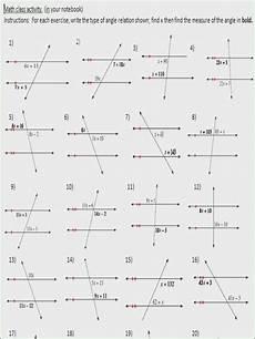 parallel lines cut by a transversal worksheet winonarasheed com