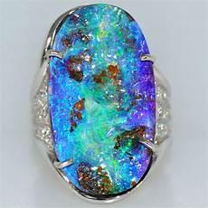 large 17 ct vivid australian opal diamond ring 18k white gold natural ebay