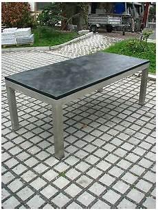 gartentisch outdoor tisch esstisch mit schieferplatte