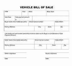 blank bill of sale template bill of sale form template vehicle printable