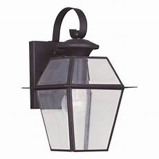 livex lighting 1 light bronze outdoor wall lantern with clear beveled glass 2181 07 the home depot