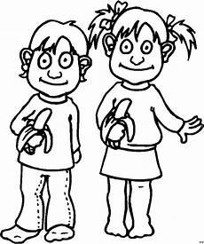 zwei kinder mit bananen ausmalbild malvorlage comics