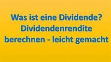 dividende berechnen dividendenrendite durch ein