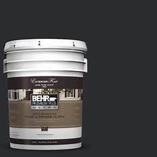 behr premium plus ultra 5 gal ecc 10 2 jet black flat exterior paint 485305 the home depot